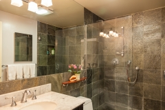 contemporary remodeled bathroom granite shower tiles
